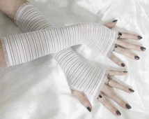 White Arm Warmers cotton fingerless gloves mesh lace - Into The Light - armwarmers arm warmer goth gothic boho burlesque bohemian Victorian