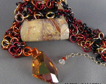 """Random mix of Yellow, Orange, Red, Brown, and Black Anodized Aluminum Rings, Necklace  - 18 - 20"""" - Hand Crafted Artisan Jewelry"""