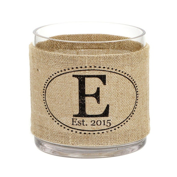 Oval Monogram Burlap Hurricane Vase - charming decor for rustic wedding reception