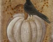 White Pumpkin Harvest, 8x10 digital folkart, Download, printable