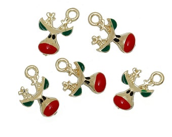 "5 REINDEER Christmas Charms or Pendants . Gold Plated with enamel, 5/8"", chg0301"