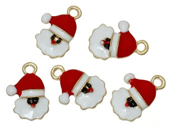 """5 SANTA CLAUS HEAD Christmas Charms or Pendants . Gold Plated with enamel, 5/8"""", chg0304"""