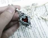 Valkyrie's Heart Swarovski Crystal Silver Bridal Bridesmaid Pendant - Red (Light Siam)