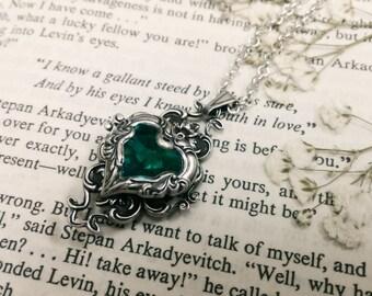 Valkyrie's Heart Swarovski Crystal Silver Bridal Bridesmaid Pendant - Blue Zircon