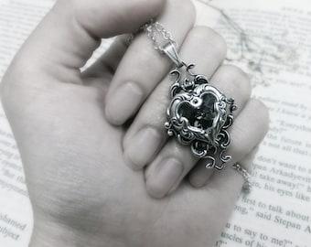 Valkyrie's Heart Swarovski Crystal Silver Bridal Bridesmaid Pendant - Black Diamond