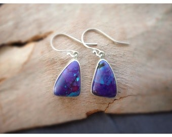 Mohave Purple Turquoise Sterling Silver Earrings- Purple Turquoise Earrings- Mohave Purple Turquoise Dangle Earrings