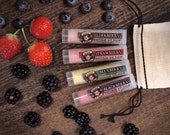 Lip Balm Gift Set BERRY Strawberry Blackberry Blueberry Elderberry - stocking stuffer