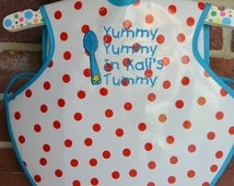 Personalized Waterproof Bapron Bib, Sizes 6 Mos. to 3T, Red and White Polka Dot, Yummy In My Tummy