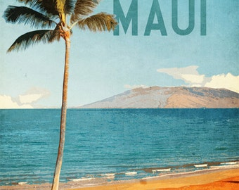 Hawaii Maui Travel Print Vintage Retro Style Poster Ad In Beautiful Ocean Blues and Glowing Tangerine Sands