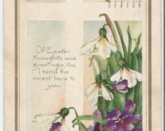 Butterfly over Purple Pansies and Snow Drops decorate this Beautiful Vintage Postcard Easter Greetings 1922