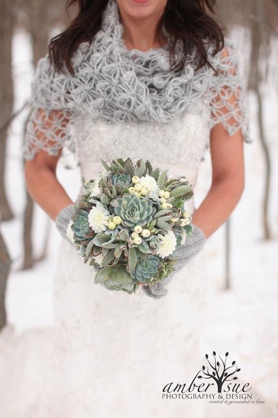 Grey bridal shawl crochet shawlbridal bolero grey cape for Winter shawls for wedding dresses