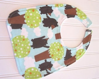 Baby Bib/Infant--18 mo./Bears in Woods/Organic Fleece Back