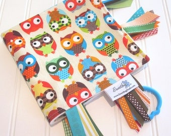 Sensory Ribbon Blanket, Lovey,Tag Blanket/Bright Owls in Cream/Organic Cotton Fleece