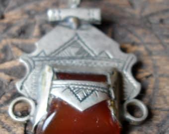 Niger Tuareg agate scarab square hand engraved pendant  (N)