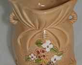 Vintage Burlap Sack Ceramic Vase Planter Ardco Dallas Floral Croker Sack Planter Bag Vase 70s Home Decor Purse Vase Tan Burlap Look Planter