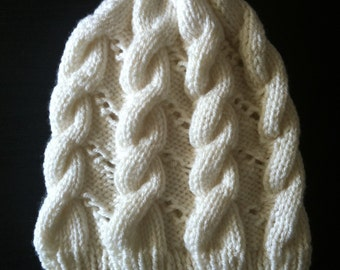 slouchy cable eyelet beanie