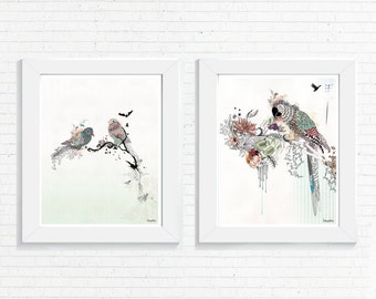 Print Set, Wall Art Prints ,Bird Artwork, Wall Art Set, Wall Decor, Bird Prints, Wall Hanging, Living Room Art, Set of Prints