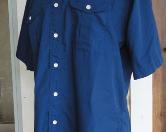 Navy Blue Button Up Short Sleeve Shirt Christian Dior 1980s