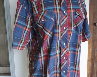 Dark Plaid Oxford Short Sleeve Western Shirt 1980s