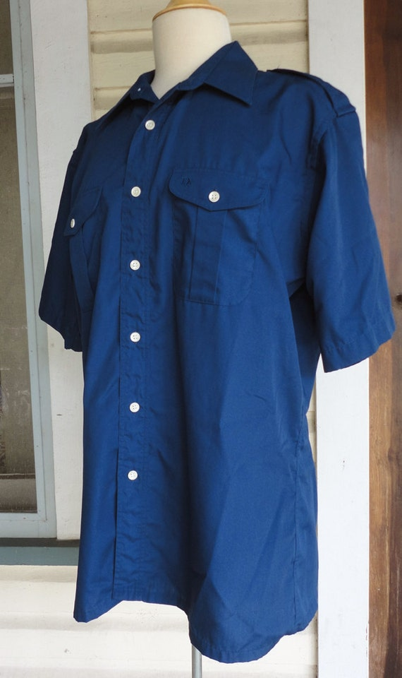 Items similar to navy blue button up short sleeve shirt for Christian dior button up shirt