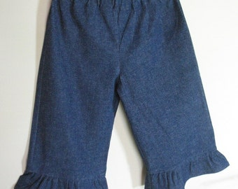 Girls Ruffle Denim Capri Toddler Girls ruffled Capri Pants Blue Stretch Denim