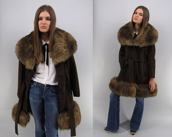 Vintage 60s Suede Shearling Coat, Leather Fur Coat, Boho Coat, Hippie, Bohemian, Belted Suede Coat, Mod Suede Coat Δ size: sm / md