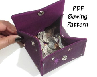 PDF Sewing Pattern, Folding Coin Purse, Coin Pouch, Wallet, Change purse, Gift card holder, Scrap buster