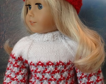 Faux Fair Isle Sweater and ski hat for American Girl or similar 18 inch doll
