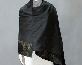Large Linen, hand felted shawl /scarf /wrap The original design Eco-friendly Ready to ship