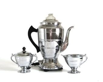 Forman Family Coffee Percolator Serving Set Antique Samovar Coffee Maker
