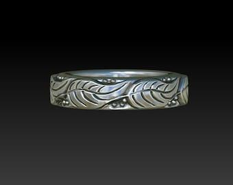 Leaves ring wedding ring wedding band ring band promise ring leaf ring LR1s