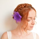 Purple organza flower barrette - lotus