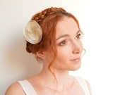 Bridal champagne organza flower hair pin - peony