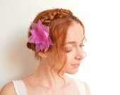 Mauve lotus flower hair pin - organza and Swarovski