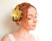 Yellow flower bobby pin - organza lotus