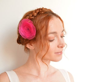 Hot pink flower hair clip - organza peony