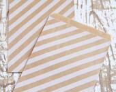 10 White Striped Kraft Paper Bags - 10 Sacchettini di carta kraft a righe bianche