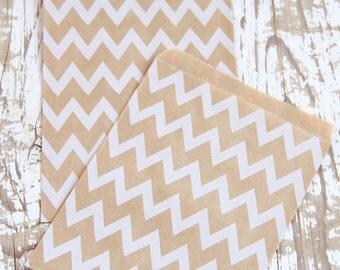 10 White Chevron Kraft Paper Bags - 10 Sacchettini di carta kraft con motivo chevron bianco