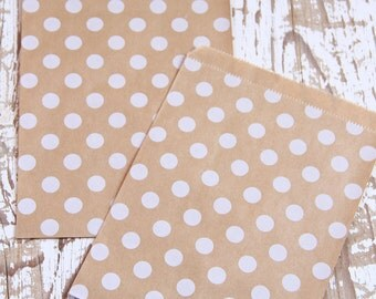 10 White Polka Dot Kraft Paper Bags - 10 Sacchettini di carta kraft a pois bianchi