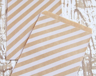 10 White Striped Kraft Paper Bags - 10 Sacchettini di carta kraft a righe bianche