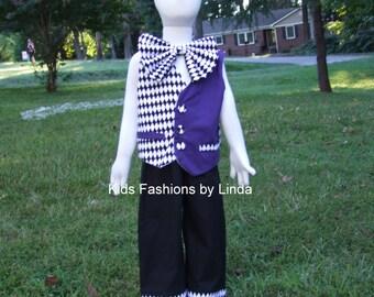 Black/White Diamond/TPurple Vest, Diamond Bow Tie and Black Pants /Diamond Cuff