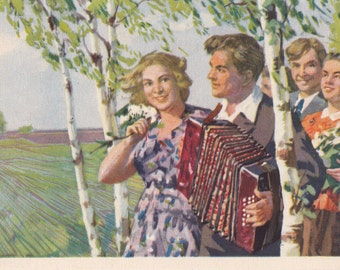 "Rare! V. Basov ""May Day"" Postcard -- 1955. Russian Soul Vintage"