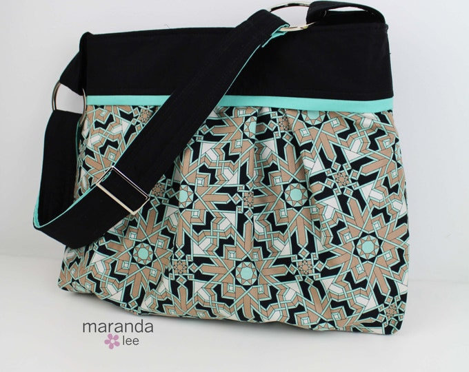 Stella Diaper Bag - Large - Horseblanket with Black and Mint accent -Baby Gear Nappy Bag Stroller Attachment
