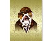 Steampunk Animal Print - English Bulldog with Victorian Background