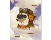 Steampunk Animal Print - Pug Aviator - Victorian Print with Clouds