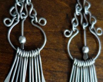 Vintage Sterling Silver Native American Dream Catcher  Earrings