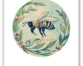 BEE PRINT / Bee Home Decor / Bee Illustration