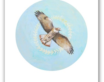 HAWK PRINT / Red Tailed Hawk Art