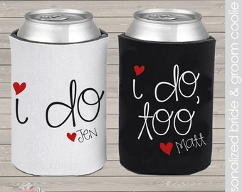 bride/groom, special i do i do too reception- party pair/set of 2 can coolers for wedding parties
