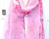 Soft Double Layered Silk Chiffon Scarf, Reversible Pink Silk Scarf, Pink Roses Scarf, Silk Scarves Takuyo, 8x54 inches